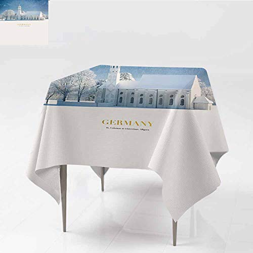 ZWARRT Table Cloth for Outdoor Barock Church in Winter Landscape,W65 x L65 for Wedding Reception Nave Blue ()