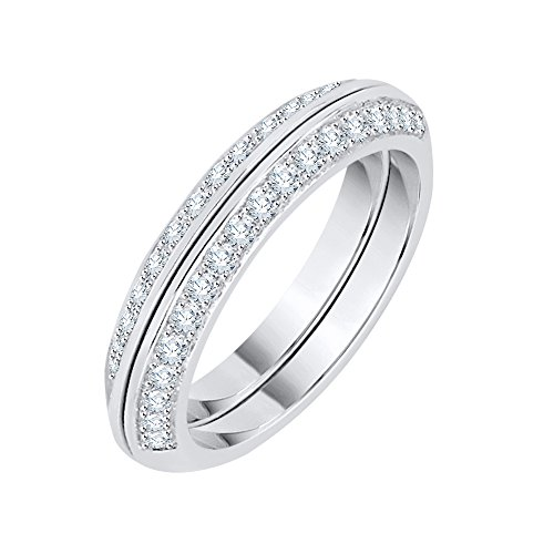 Diamond Anniversary Ring in Sterling Silver (1/2 cttw) (GH Color, I2-I3 Clarity) (Size-5.25) by KATARINA
