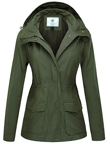 WenVen Women's Versatile Military Anorak Hoodie Jacket(Army Green,L) ()