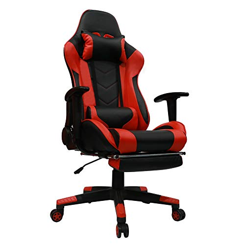Kinsal Gaming Chair with Footrest Racing Style High-Back PU Leather Office Chair Computer Desk Chair Executive and Ergonomic Style Swivel Chair with Headrest and Massage Lumbar Support (Red)