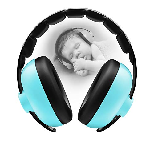 BBTKCARE Baby Gehörschutz Kopfhörer mit Geräuschunterdrückung für Babys für 3 Monate bis 2 Jahre (bläuliches grün)