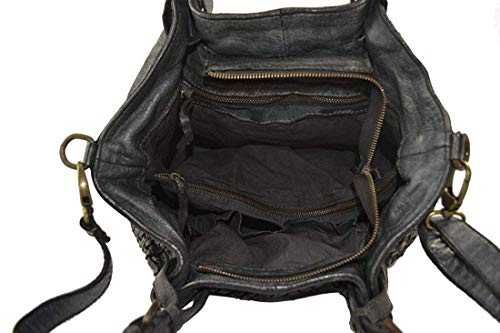 Zeta Shoes Sac à bandoulière en cuir tressé Femme Vintage teint à la tête lavée et tissée noir