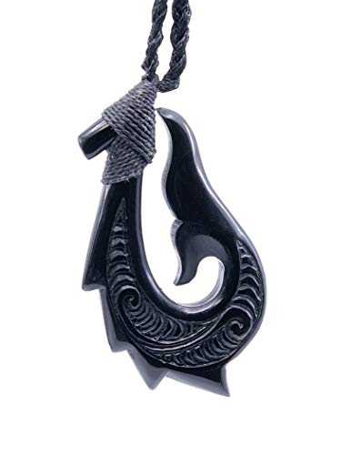 Earthbound Pacific Black Horn Hand Carved Stylized Maori Hawaiian Fish Hook Whale Tail Necklace (Med)