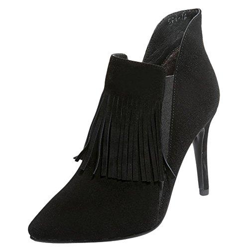 Charm Foot Womens Fasion Tassels Pointed Toe High Heel Ankle Boots Black KbiMnSnV0U