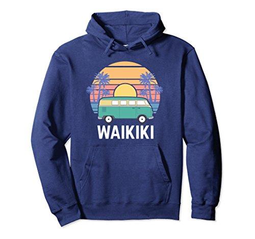 Unisex Hippie Van Hoodie, Hawaii Waikiki Road Trip Apparel Gift Medium Navy