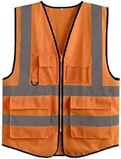建設のためのストリップで男性の高視認性安全ベスト明るいネオンの色通気性のベストのための反射ベスト (色 : オレンジ, サイズ : L)