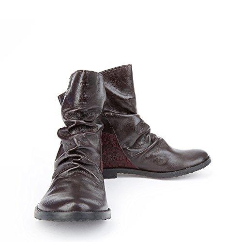 Felmini - Chaussures Femme - Tomber en amour avec Clash 9071 - Bottines Cowboy & Biker - Genuine Cuir - Violet
