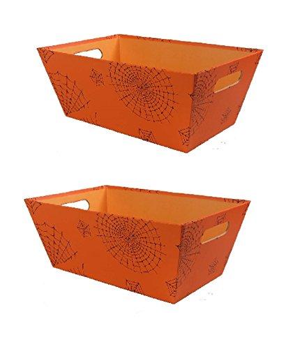Spooky Halloween Spider Web Bin (Orange), Set of -