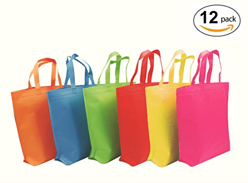 YoungZee Reusable Party Gift Tote Bags Rainbow Colors with Handles for Birthday Favors, Snacks, Decoration, Arts & Crafts, Event Supplies, Colorful,12 Bags (Set Coin Rainbow)