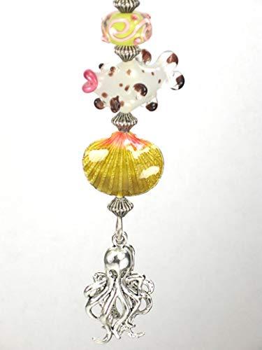 pwork Glass Fish, Enamel Sea Shell & Metal Octopus Ceiling Fan Pull Chain ()