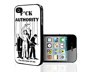 Fck Authority Im The Boss Rubber Silicone TPU Cell Phone Case (iPhone 4 4s)