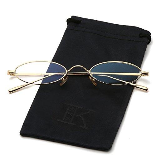 LKEYE Vintage Slender Slim Fit Oval Sunglasses Small Metal Frames LK1740 Gold Frame ()