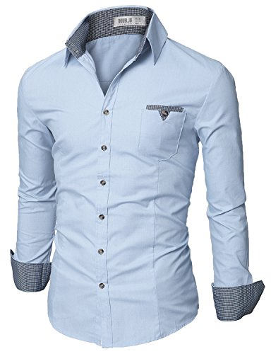 Doublju Mens Slim Fit Long Sleeve Flannel Dress Shirt, SkyBlue XX-Large