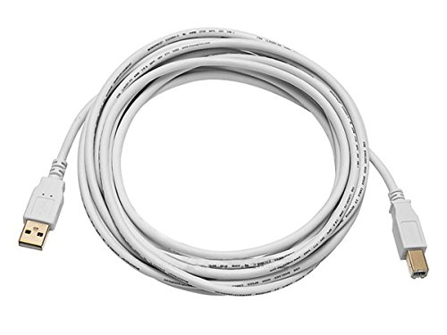 Monoprice 15ft USB 2.0 A Male to B Male 28/24AWG Cable (Gold Plated) - WHITE for Printer Scanner Cable 15M for PC, Mac, HP, Canon, Lexmark, Epson, Dell, Xerox, Samsung and More!