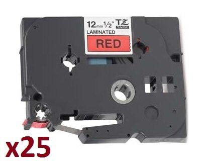 25 x TZe431 12mm x 8m Schriftbandkassetten Schwarz auf Rot Beschriftungsband kompatibel zu Brother P-Touch PT-1000 1005 1010 D200 D210 D210VP D600VP E100 E550WVP H101C H105 H110 H300 H500 P700 P750W