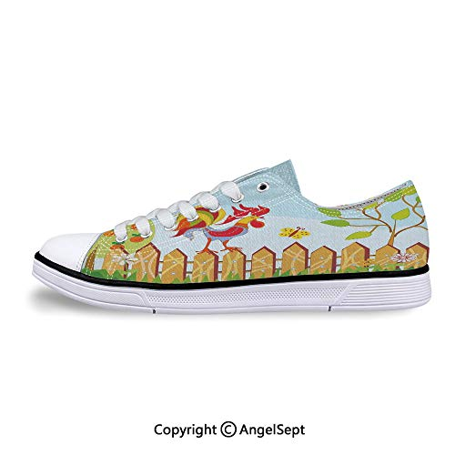 (Women Sneakers Tree Butterfly and Flowers in Lace-up Low Top Canvas Shoes)