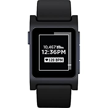 Pebble 2 + Heart Rate Smart Watch - Black/Black
