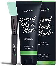 AsaVea Blackhead Peel Off Mask With Brush, Black mask, Blackhead Remover Mask, Purifying Black Peel off Charco