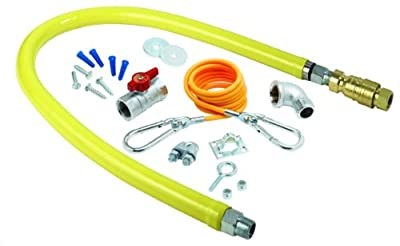 T&S Brass HG-4F-48K Gas Hose with Quick Disconnect, 1-1/4-Inch Npt, 48-Inch Long and Installation Kit