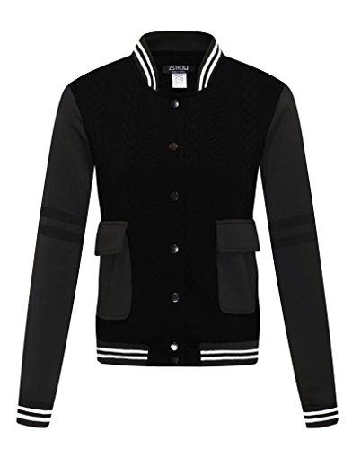 Review ZSHOW Women's Classic Varsity Baseball Bomber Jacket(Black,Large)