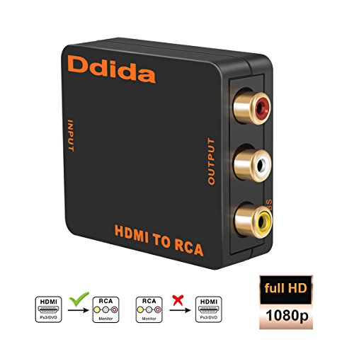 HDMI to RCA, Ddida HD 1080P HDMI to AV 3RCA CVBS Composite Video Audio Converter Adapter Support PAL/NTSC