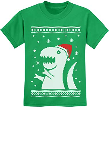 TeeStars - Big Trex Santa Ugly Christmas Sweater - Children Funny Kids T-Shirt 2T Green -
