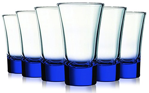 Cobalt Blue Evase Cordial Glasses with Beautiful Colored Accent- 2 oz. set of 6. Additional Vibrant Colors Available By Table Top King (Colored Glasses Cordial)