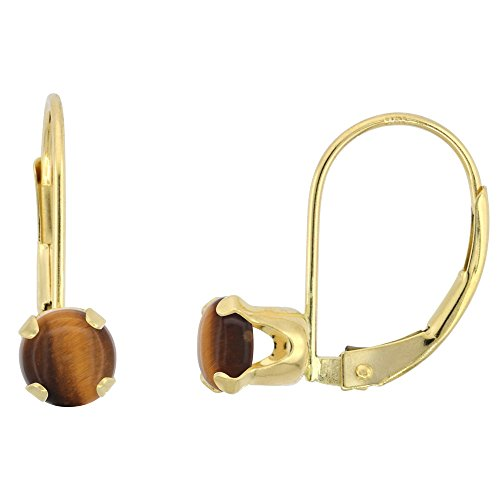 10k Yellow Gold Natural Tiger Eye Leverback Earrings 5mm Round 1 ct, 9/16 inch 10k Gold Tiger Eye