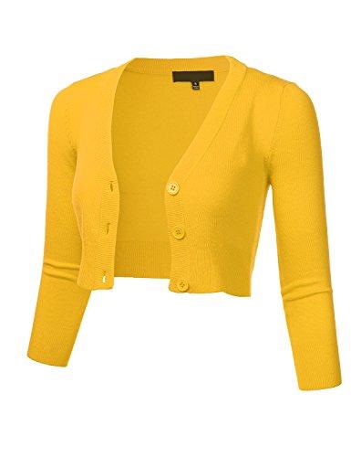 - FLORIA Women's Solid Button Down 3/4 Sleeve Cropped Bolero Cardigan Sweater Honey XL