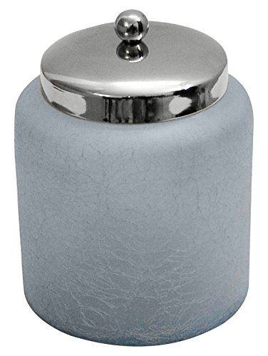 nu steel GC-5408-L Frosted Aqua Crackle Glass Canister Large