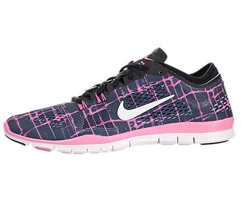 Nike Women's WMN Free 5.0 TR FIT 4 PRT, BLACK/WHITE-PINK GLOW, 9 M US
