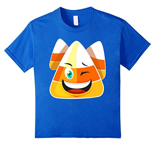 Boy Candy Corn Costume (Kids Candy Corn Halloween Emoticon Tee Shirt Costume Happy 2017 6 Royal Blue)