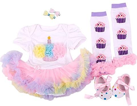 CAKYE® Baby Girls' 5pcs First Birthday Dress Leggings Shoes Bowknot Hairpin (Large (9-12 months), (1st Birthday Girl Pin)