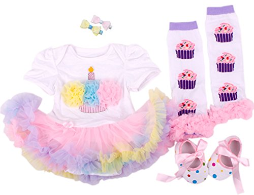 TANZKY Baby Girls' Birthday Dress 1st Tutu Outfit Headband Leggings Shoes 4PCs (L (9-12 months), Colorized)