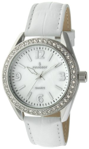Vintage White Wrist Watch (Peugeot Women's Large Silver Case Swarovski Crystal White Thick Leather Band Dress Watch)