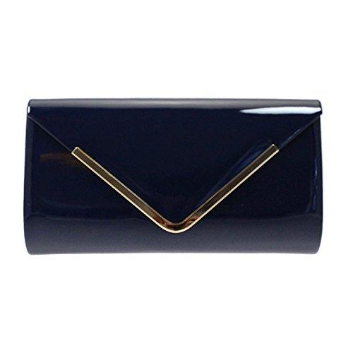 Lunar Page Patent Clutch Bag With Metal Trim, Olive, Navy, Black, Burgundy or Bronze. Navy