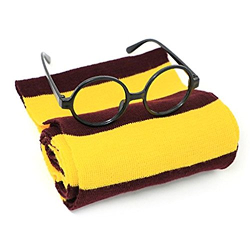 Huahuamini Striped Knit Novelty Scarf and Glasses and Santa Hat Costume accessories For (Hermione Fancy Dress)