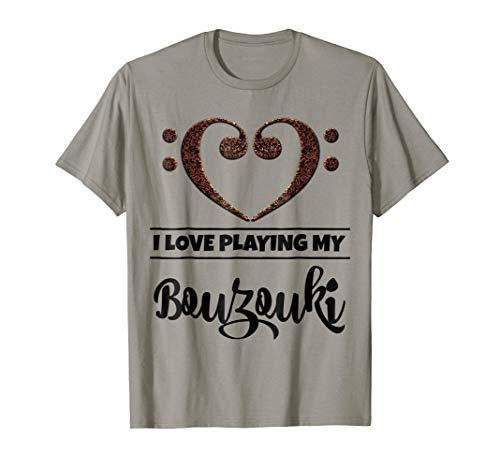 Double Bass Clef Heart I Love Playing My Bouzouki Music Lover T-Shirt