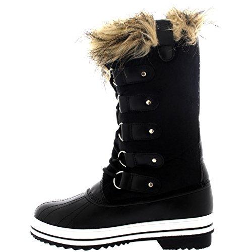 Mujer Manguito De Piel Cordones Caucho Invierno Lluvia Zapato Botas Negro Suede