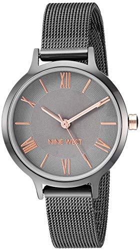 Nine West Women's NW/2229GYRT Gunmetal Mesh Bracelet Watch
