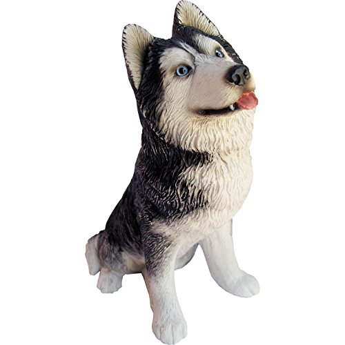 Figurine Husky Dog Siberian (Sandicast Sculpture, Medium, Sitting Gray Siberian Husky)