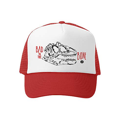 Bone Boys - Grom Squad Kids Trucker Hat - Mesh Adjustable Baseball Cap for Boys & Girls - Baby, Infant, Toddler, School-Age Sizes (5-10yrs (Super), Bad to The Bone