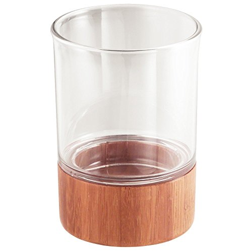Vanity Cup (InterDesign Formbu Bath Collection, Tumbler Cup for Bathroom Vanity Countertops - Natural Bamboo/Clear)