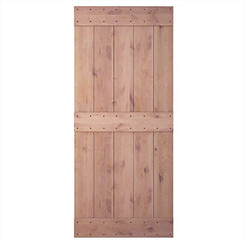 36in 84in Natural Knotty Alder Shiny Interior Sliding Barn Door Slab(Disassembled&Pre-grooved),3 Bars by JUBEST
