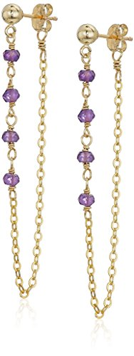 Gold Filled Loop - Gold Filled Chain and Amethyst Bead Loop Earrings