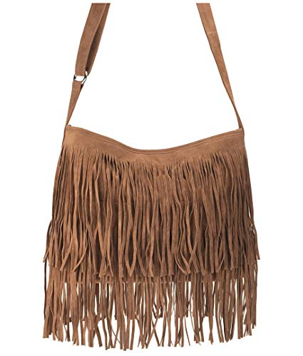 Hoxis Tassel Faux Suede Leather Hobo Cross Body Shoulder Bag Womens Sling Bag ()