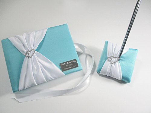 Personalized Wedding Guest Book and Pen Set in Robin's Egg Blue and White with Linked Hearts
