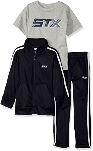STX Baby Boys' Tricot Jacket and Pant with Logo T-Shirt, Navy/White, 18 Months (Logo Tracksuit)