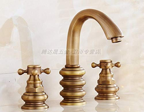 K Basin Faucet Sink Faucet Three-Hole Faucet Three Sets of Hot and Cold Water Copper Basins, Two-Wheeled Bathroom Cabinet Faucet, E