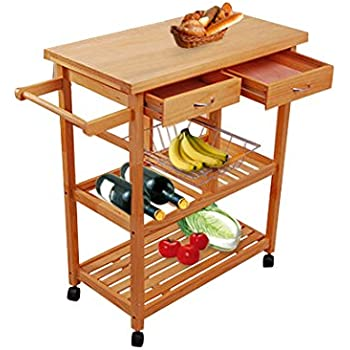 Great Tenive Pine Wood Dining Trolley Rolling Kitchen Trolley Cart Kitchen  Utility Cart Kitchen Island With Win Rank/Basket/Drawer